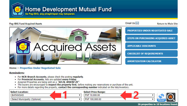 Pag-IBIG Fund properties under negotiated sale