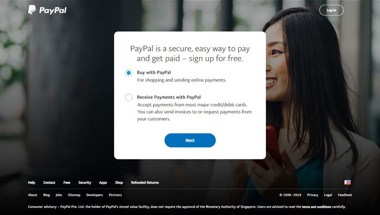 PayPal account signup