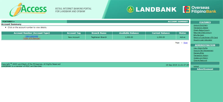 Landbank iAccess account