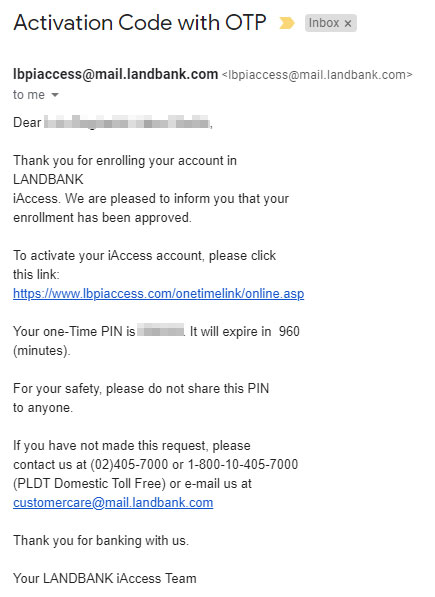 LBPiAccess activation email