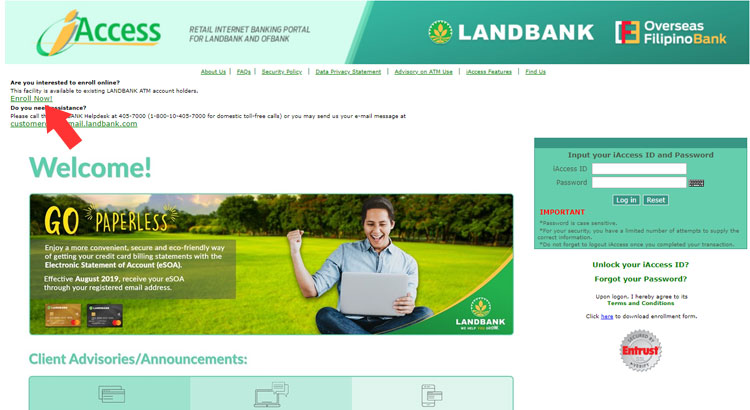 Landbank iAccess website