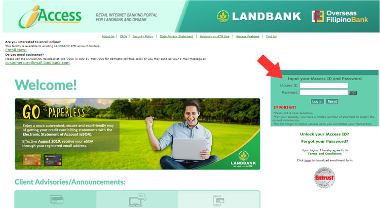 Landbank iAccess login