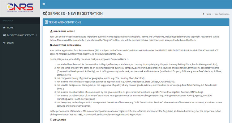 DTI business registration terms and conditions