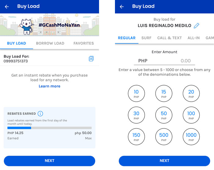 Buy load with Gcash