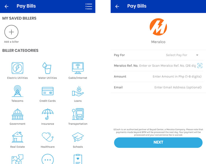 Pay bills with the GCash app