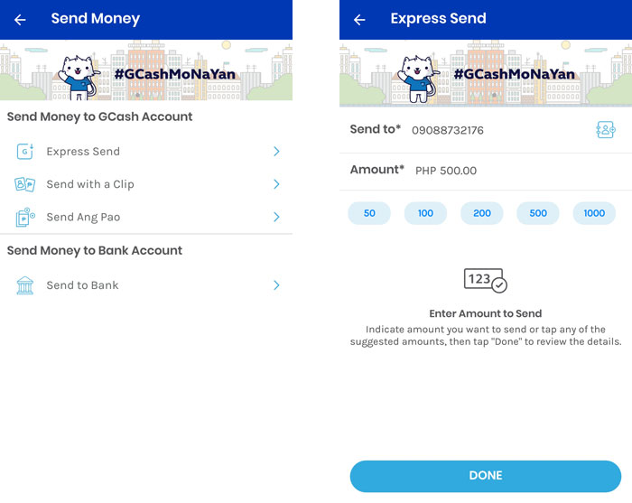 Send money using the GCash app