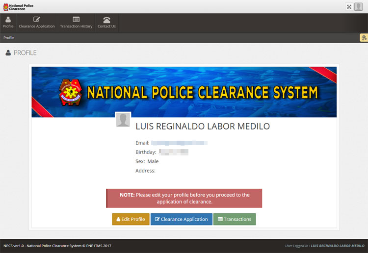 Police clearance online system