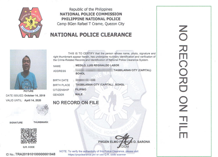 National police clearance sample