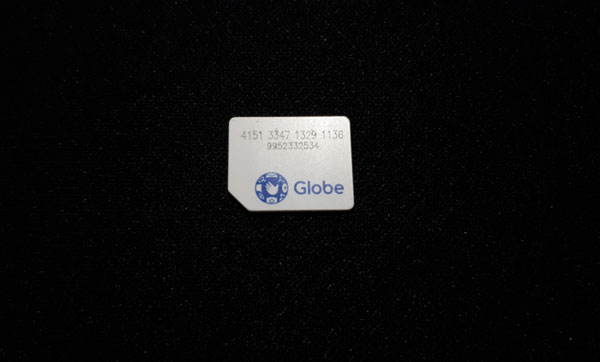 Globe SIM card with mobile number
