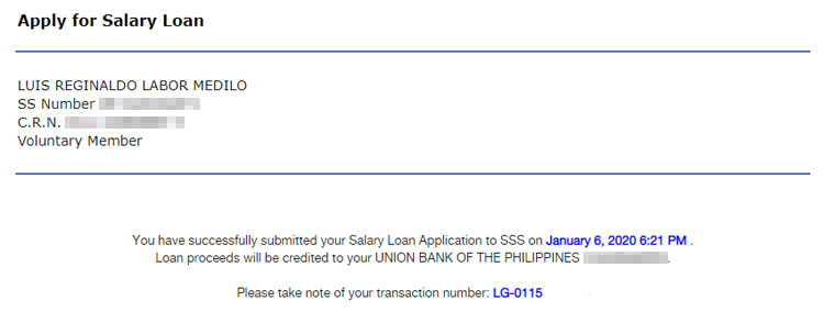 SSS salary loan application submitted