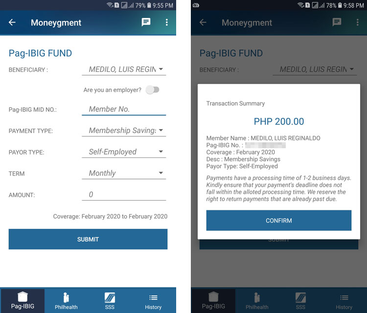 Pag-IBIG online payment through Moneygment app