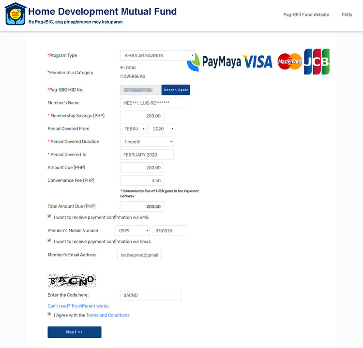 Pag-IBIG online payment facility