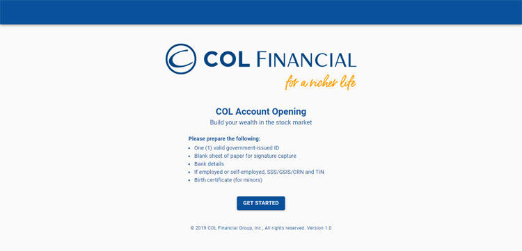 COL Financial account opening