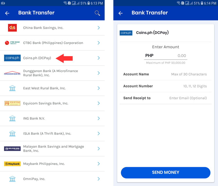 Transfer money from GCash to Coins.ph