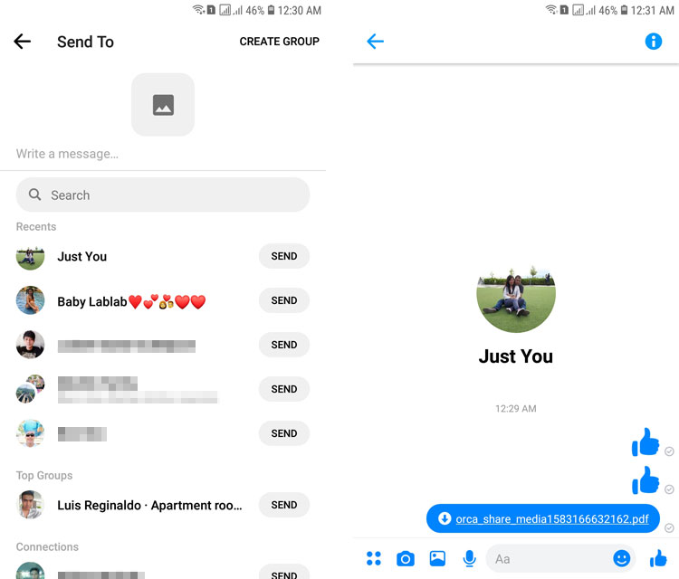How to send documents in Messenger using RAR