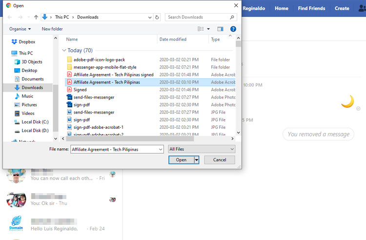Selecting a file to send in Messenger