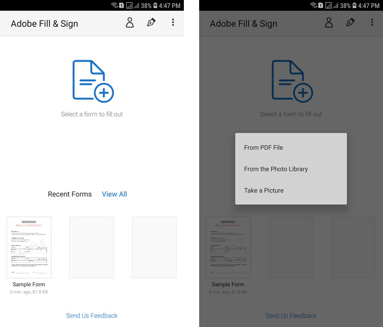 Adobe Fill and Sign app