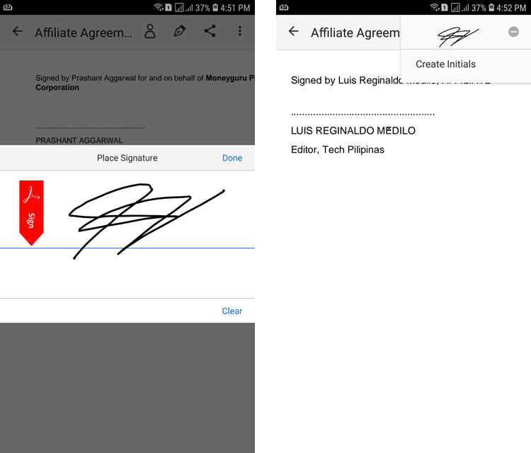 Drawing a signature with Adobe Fill and Sign