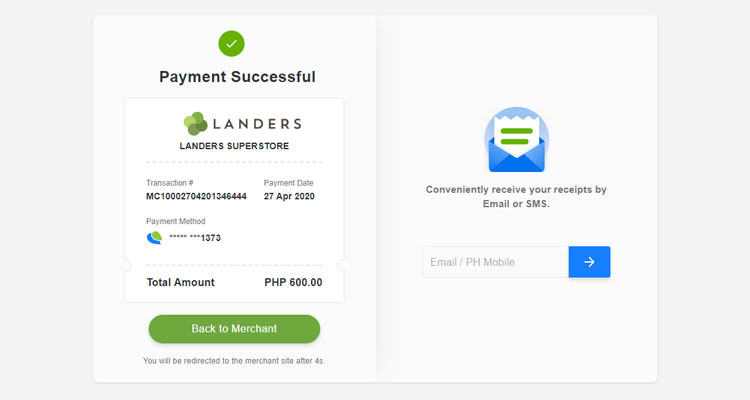 Landers payment successful