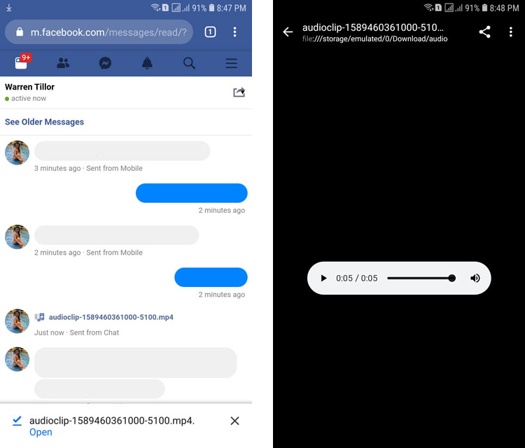 How to download audio from Messenger