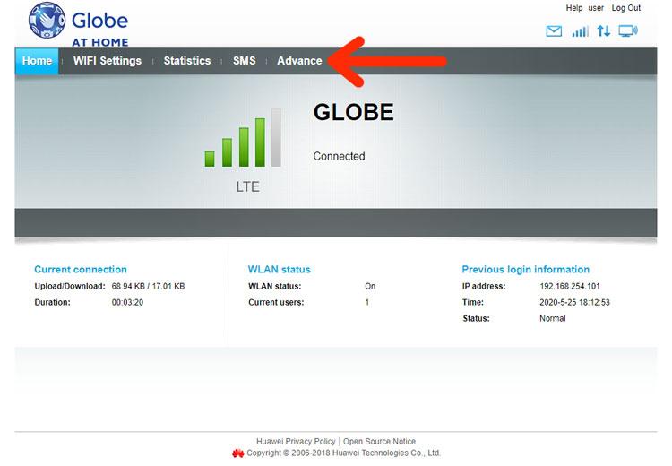 Globe admin dashboard