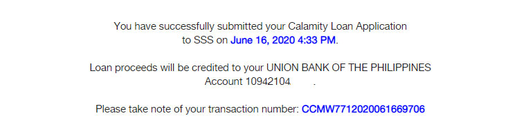SSS calamity loan application submitted