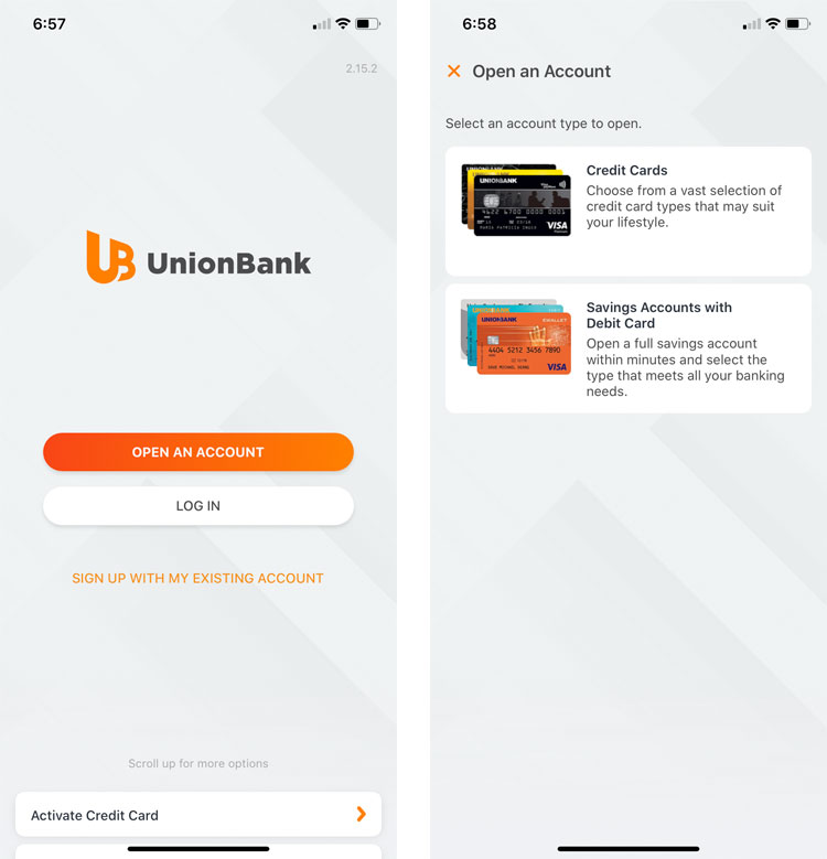 Open an account with UnionBank
