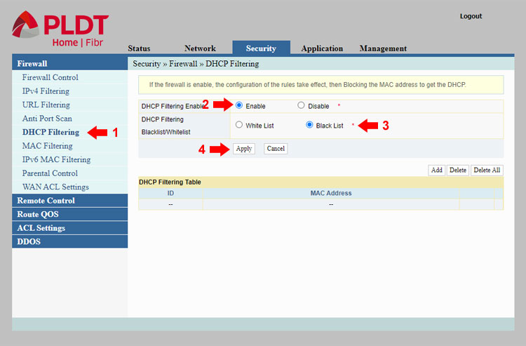 DHCP filtering