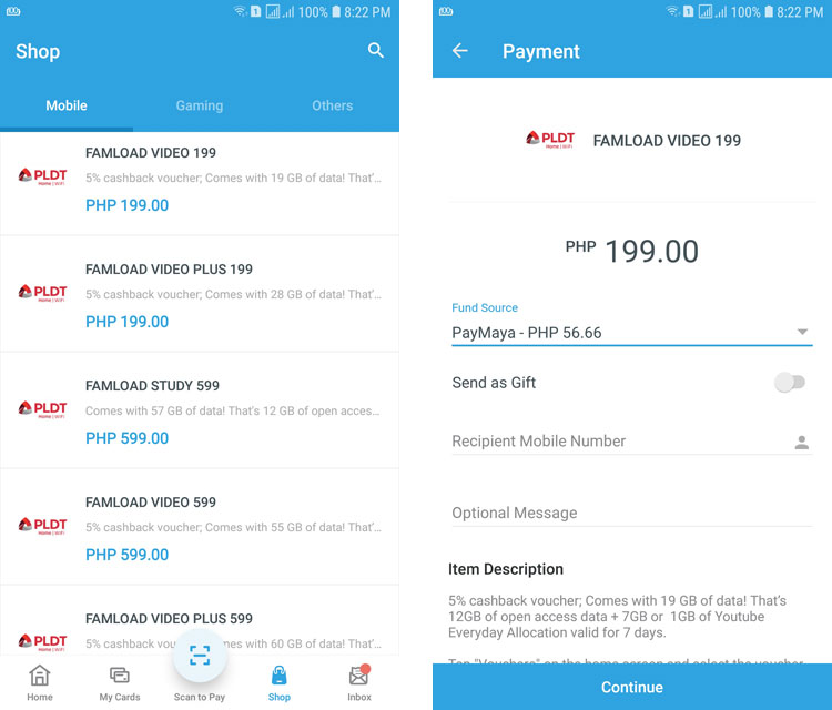 Register to FamLoad on PayMaya