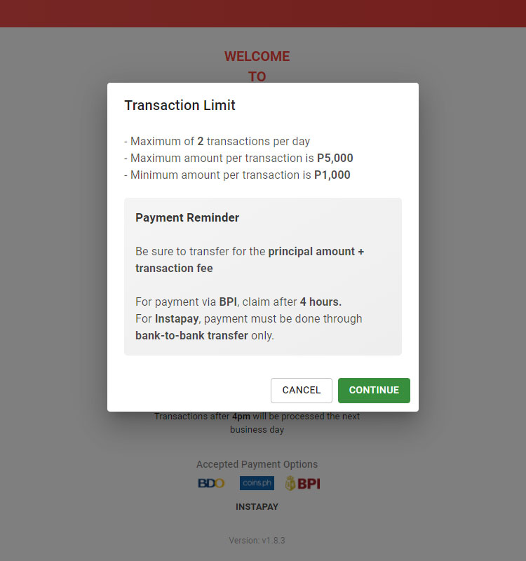 Transaction limit and payment reminder