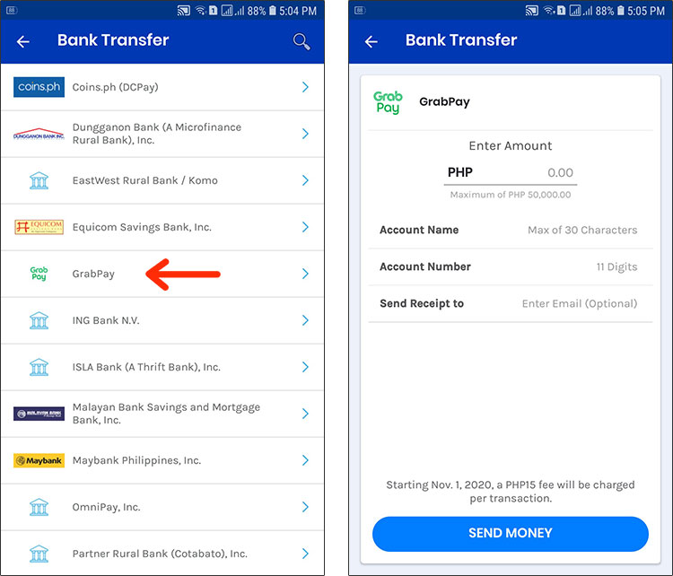 GCash to GrabPay transfer