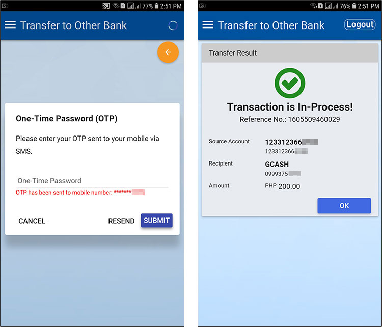 Transaction in process