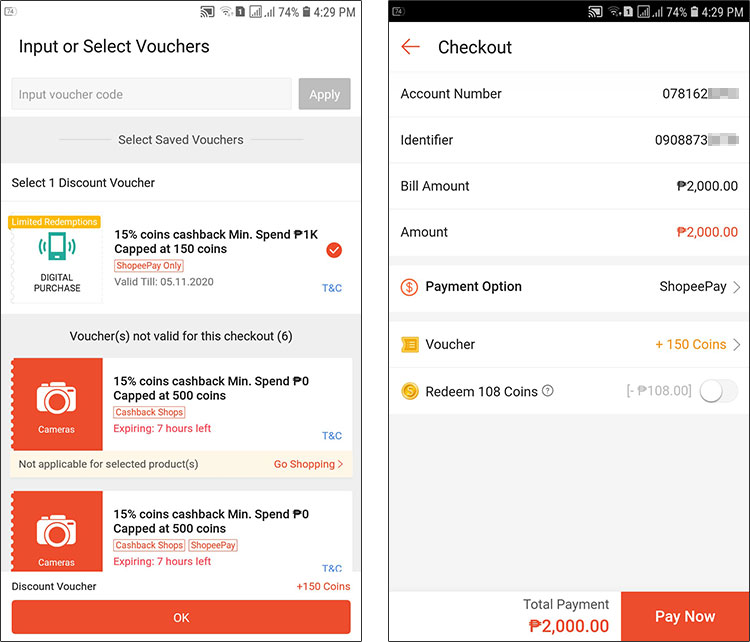 Choose voucher for Shopee coins