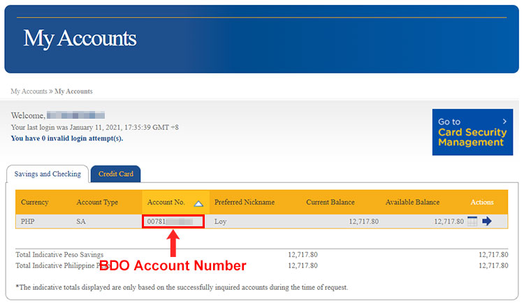 View your BDO account number online