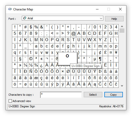 Degree sign in Character Map