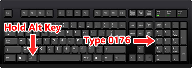 Keyboard shortcut for the degree symbol
