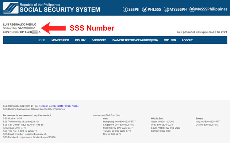 How to know your SSS number online