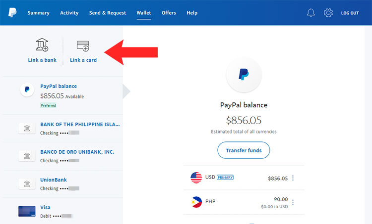 Link card to PayPal