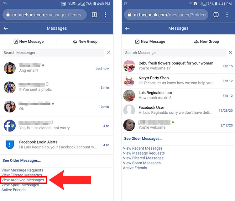 How to see archived messages on Facebook Messenger