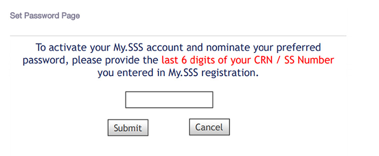 SSS account activation