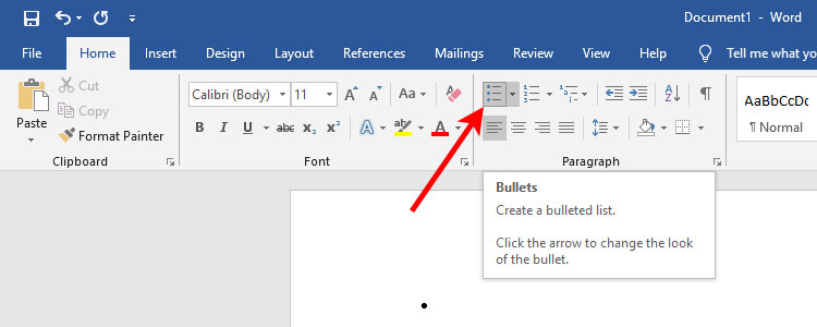 Created a bulleted list in Microsoft Word