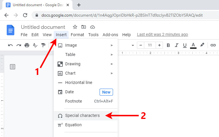 How to type the copyright sign in Google Docs