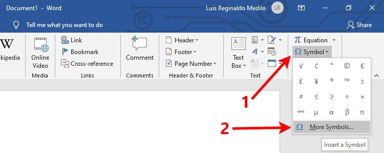 Click More Symbols