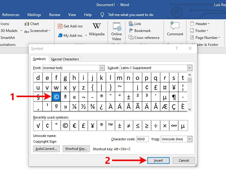 How to type the copyright symbol in Microsoft Word