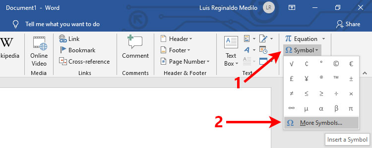 How to insert pi symbol in Word