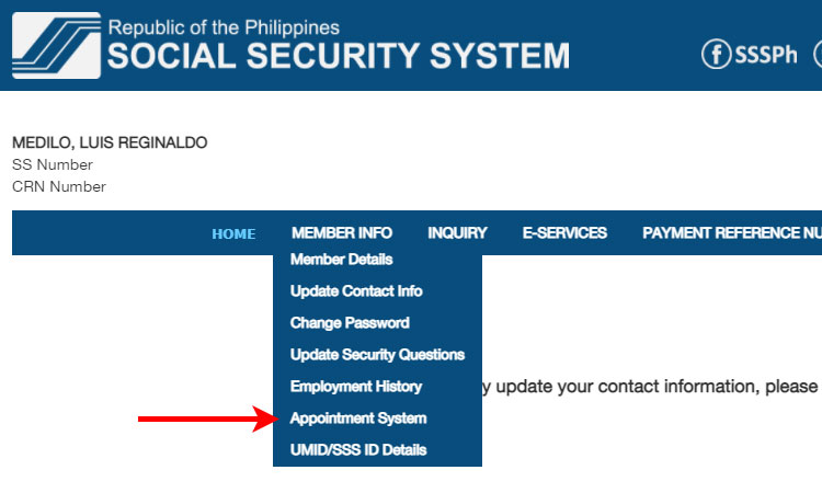 SSS online appointment system