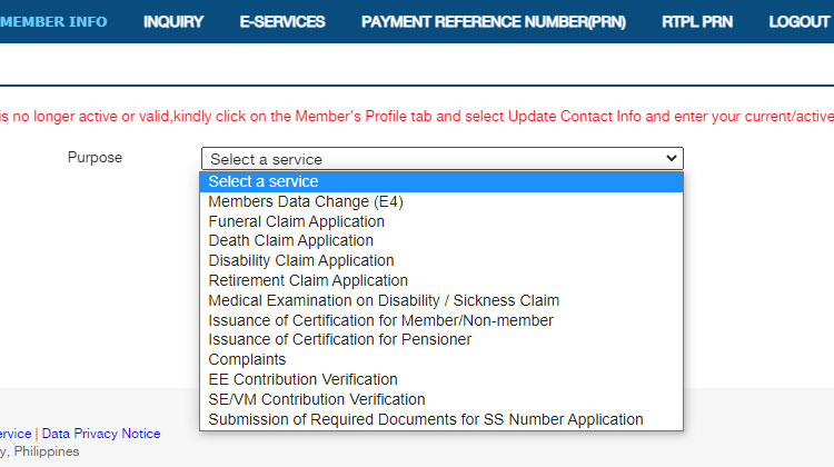 Purpose of SSS online appointment