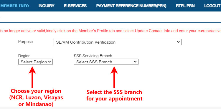 Select region and SSS branch