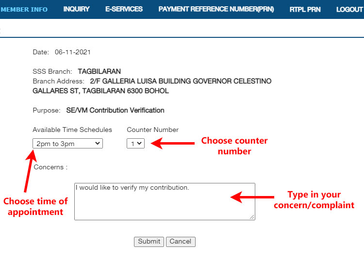 SSS online appointment schedule