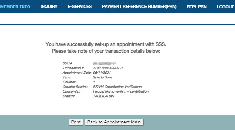 SSS appointment confirmation